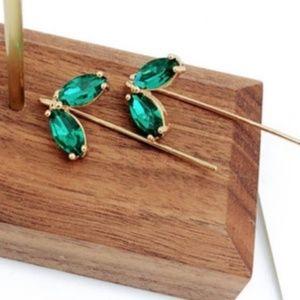 Sterling Silver Gold Green Leaf Earrings
